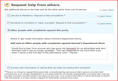 PeopleClaim - Copy your complaint to regulators or invite review by lawyers.
