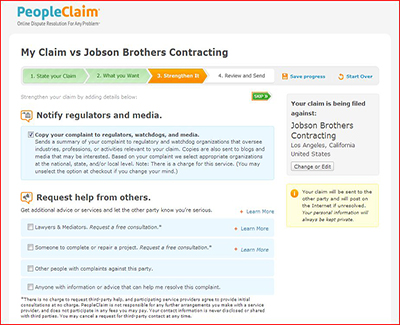 PeopleClaim - Copy your claim to regulators or request special help